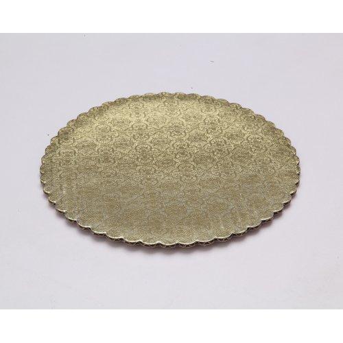 C-Flute Gold/Kraft Scalloped Cake Circles