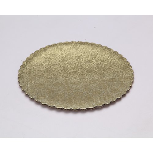 "C-Flute Gold/Kraft Scalloped Cake Circles - 14"""
