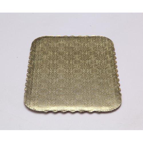 Single Wall Gold/Kraft Scalloped Cake Pads - 1/4 sheet