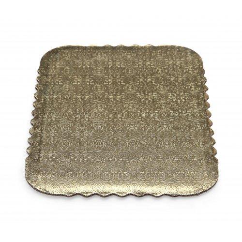 Double Wall Gold/Kraft Scalloped Cake Pads - 1/4 sheet