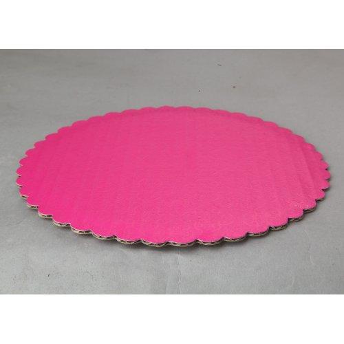 "C-Flute Pink Scalloped Cake Circles - 8"""