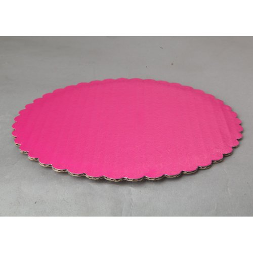 C-Flute Pink Scalloped Cake Circles