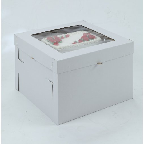 White/Kraft E-Flute Plain Cake Box w/window - 12x12x8