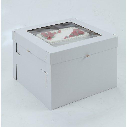 White/Kraft E-Flute Plain Cake Box w/window - 16x16x8
