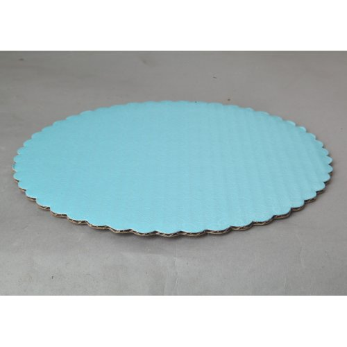 "C-Flute T-Blue Scalloped Cake Circles - 12"""