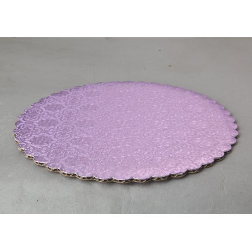 "C-Flute Lilac Scalloped Cake Circles - 9"""