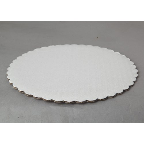 "C-Flute White Scalloped Cake Circles - 8"""