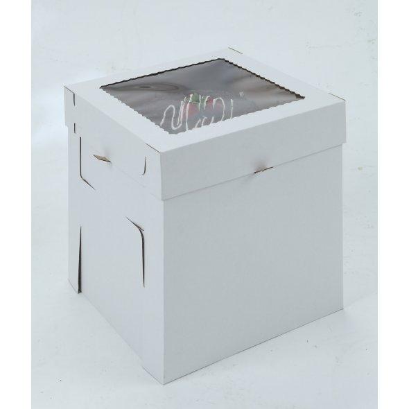 White/Kraft E-Flute Plain Cake Box w/window - 14x14x12