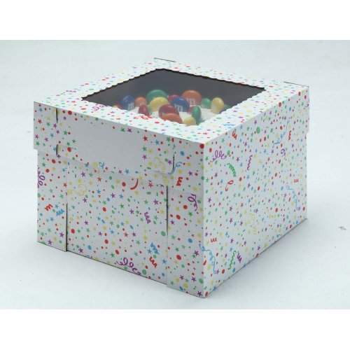 White/Kraft E-Flute Party Cake Box w/window - 10x10x8