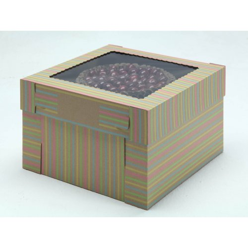 Kraft/Kraft E-Flute Striped Cake Box w/window - 16x16x8