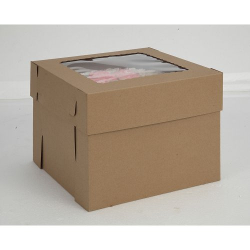 Kraft/Kraft E-Flute Plain Cake Box w/window - 14x14x8