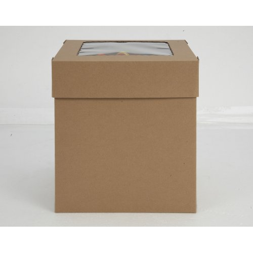 Kraft/Kraft E-Flute Plain Cake Box w/window - 16x16x12