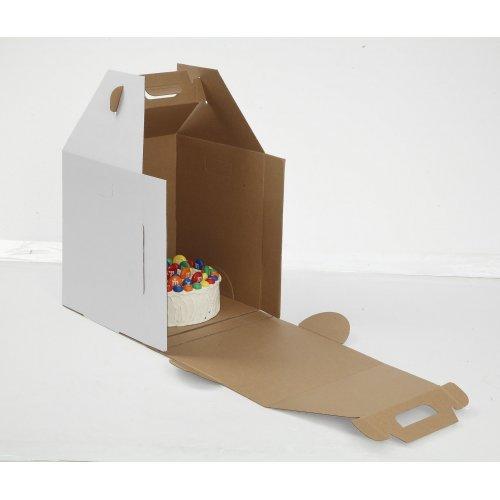 Kraft/Kraft B-Flute Plain Tiered Cake Box - 18x18x20