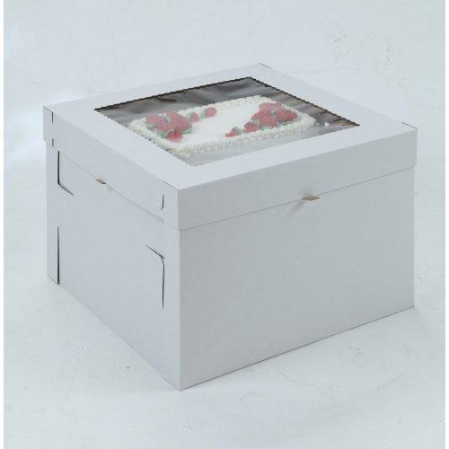 White/Kraft E-Flute Plain Cake Box w/window - 8x8x8