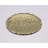 C-Flute Gold/Kraft Scalloped Cake Circles - 12""