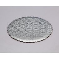 C-Flute Silver Scalloped Cake Circles - 14""