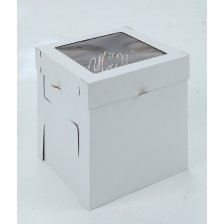 White/Kraft E-Flute Plain Cake Box w/window - 16x16x12