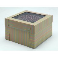 Kraft/Kraft E-Flute Striped Cake Box w/window - 14x14x8