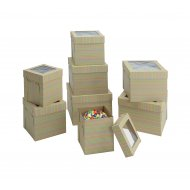 Kraft/Kraft E-Flute Striped Cake Box w/window - 14x14x12